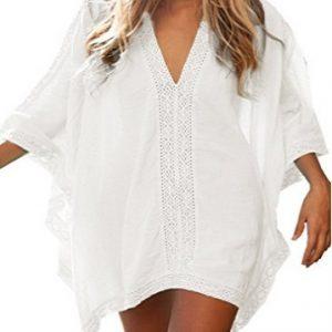 Vestido para la playa de encaje estilo camisa